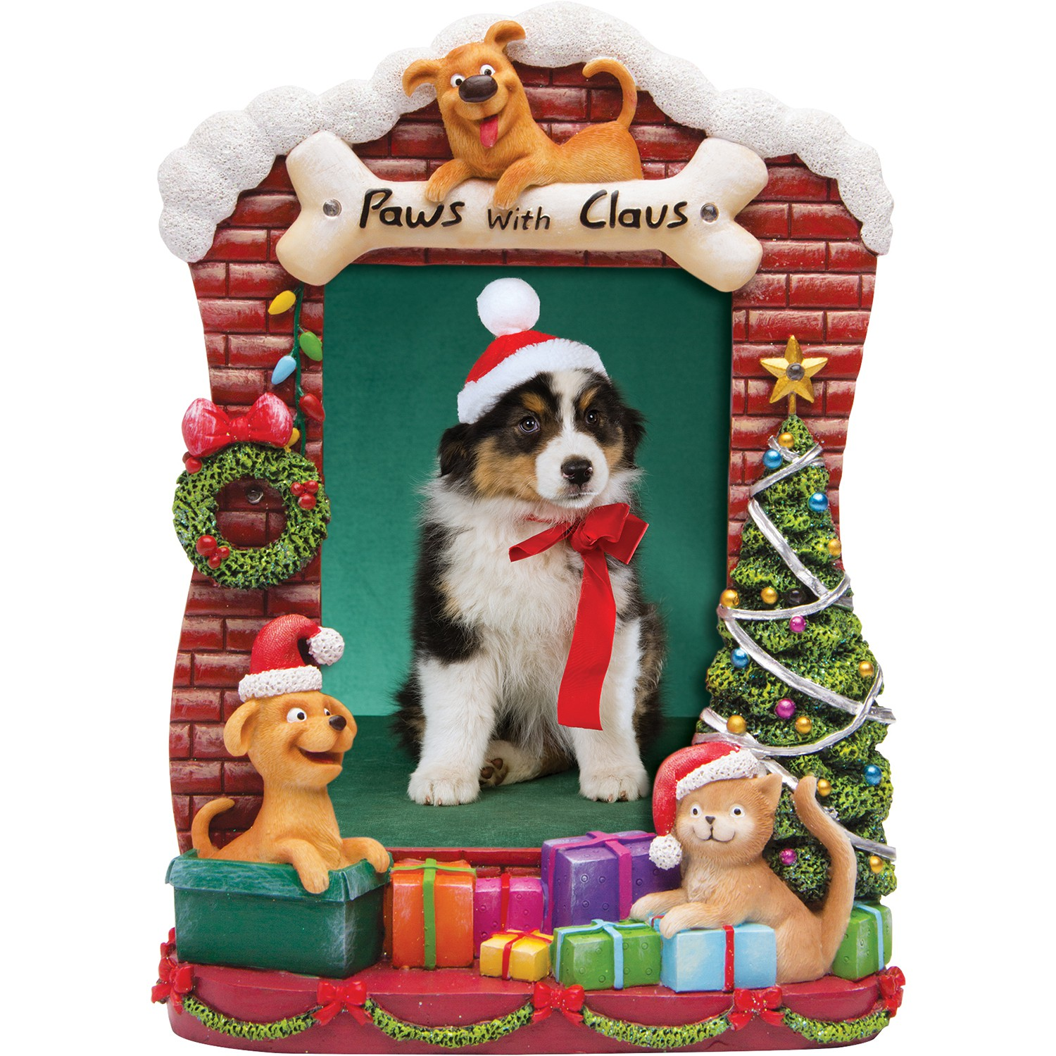 Light up paws with claus resin picture frame neil enterprises light up paws with claus resin picture frame jeuxipadfo Images