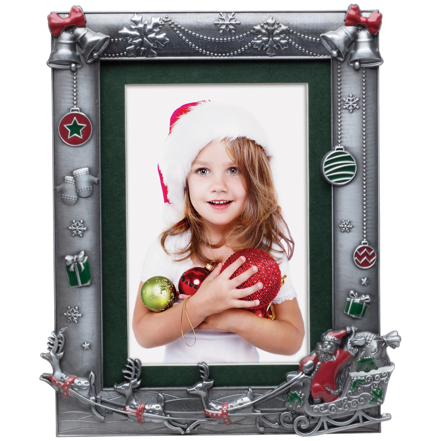 santa and reindeer pewter picture frame