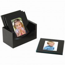 Wholesale black glass photo coasters set