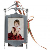 Pewter Sled Photo Ornament and Frame