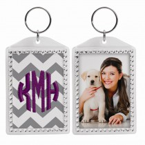 Rhinestone Photo Snap-In Keychain