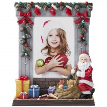 Wholesale Hand painted light up Christmas picture frame with Santa Claus for 4x6 photos