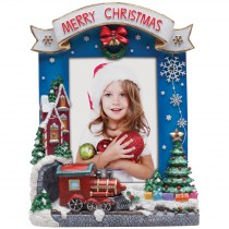 Light Up Merry Christmas Resin Picture Frame for 5x7 Photo