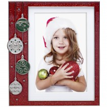 Wholesale Red Glitter Pewter Christmas Ornament Picture Frames