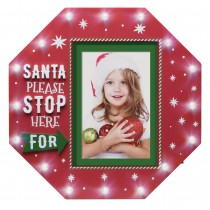 Light Up Santa Please Stop Here Picture Frame