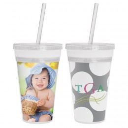 16 oz. Acrylic Tumbler with Straw  INSERTS FROM TOP