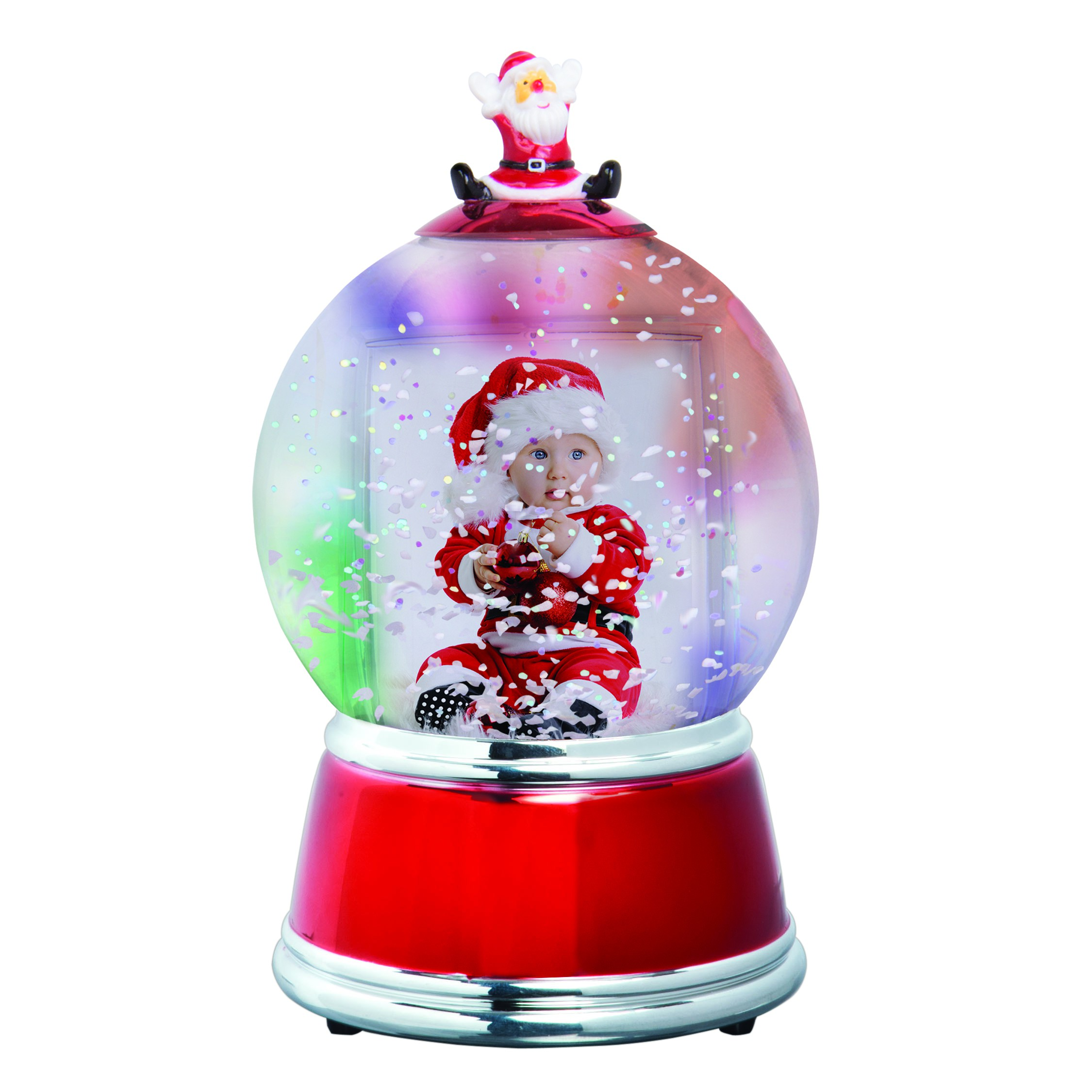 Wholesale Plastic Light Up Santa Photo Snow Globe