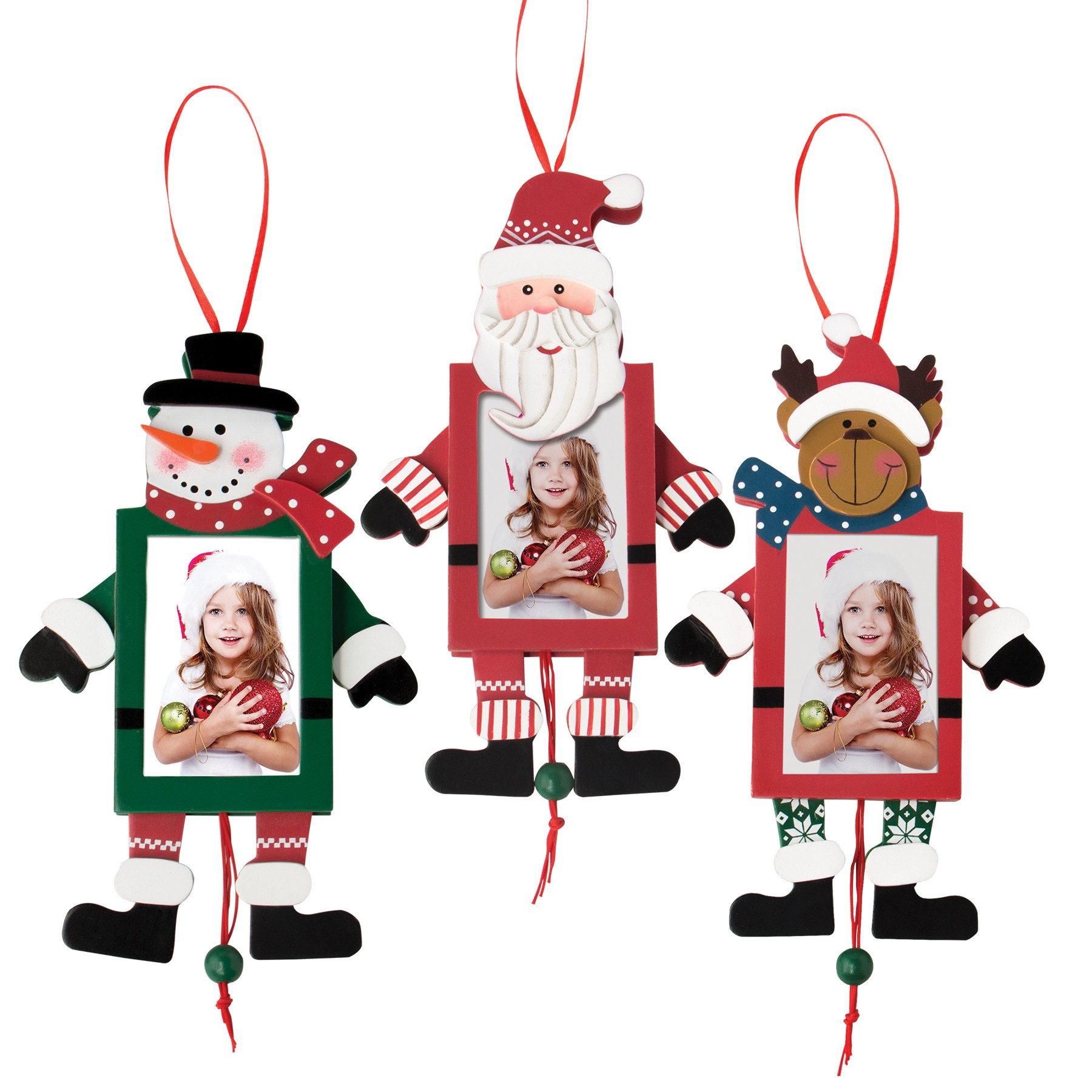 wholesale wood photo christmas ornaments with pully string for santa photographers
