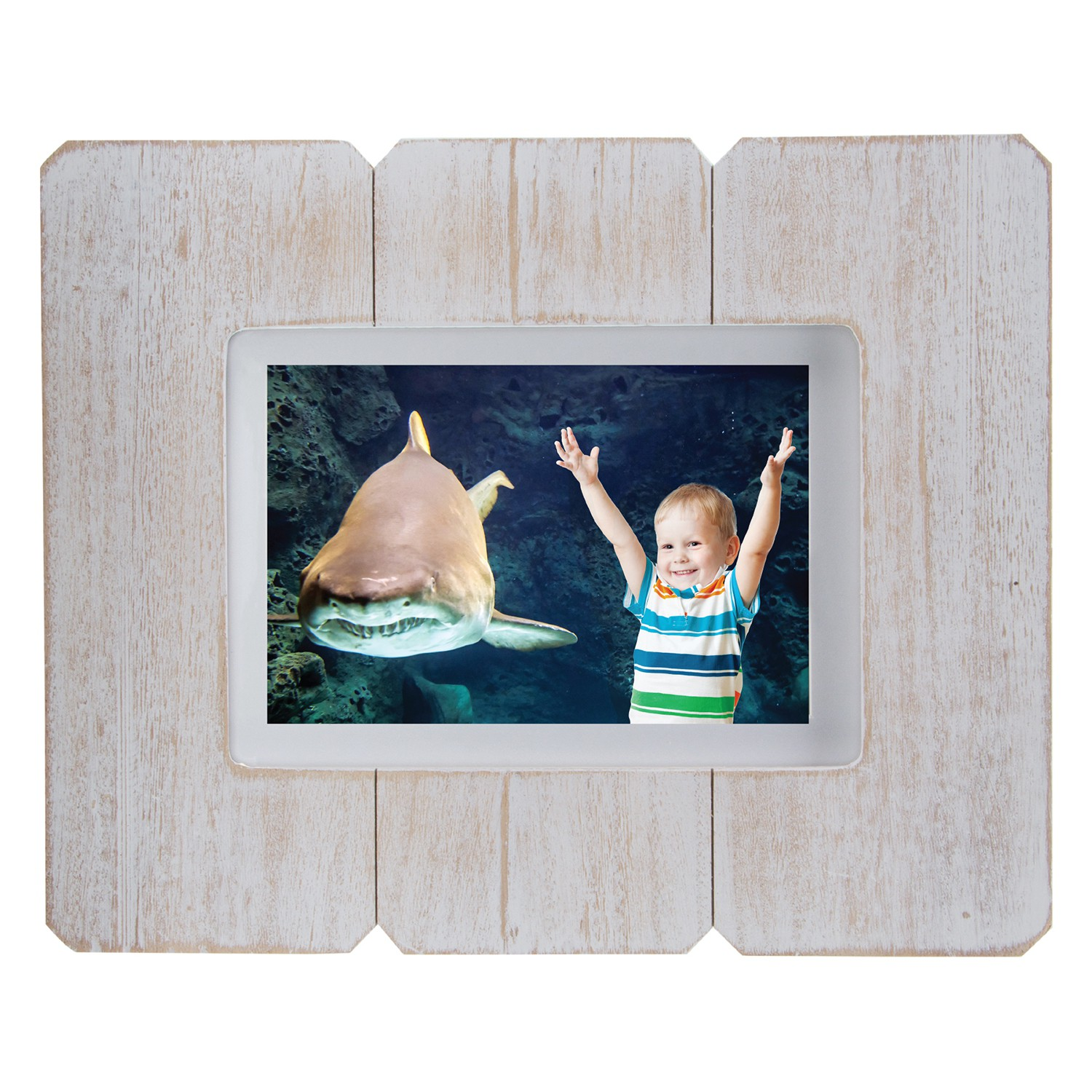 "5"" x 7"" White Distressed Wood Picture Frame"