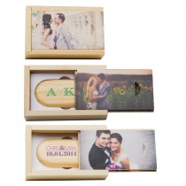 Personalized Single Bamboo 8GB Flash Drive and Box Set