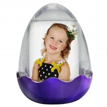 Easter Egg Photo Snow Globe with Purple Base