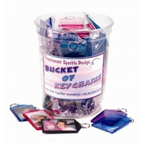 Assorted Translucent Sparkle Keychain Bucket