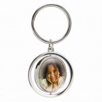 Silver Spin Photo Keychain