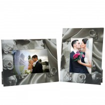 Black and White Roses Wedding Rings Picture Frames
