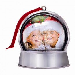 Wholesale photo ornament snow globe with magnet professional santa photographer picture frame