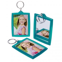 Teal Mirror Photo Keychain
