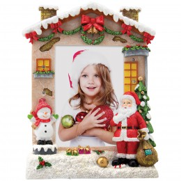 Wholesale Hand painted light up Christmas picture frame with Santa Claus for 4x6 photos and professional photographers